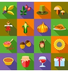Thanksgiving icons set flat style vector