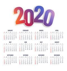2020 happy new year calendar design vector image
