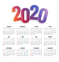 2020 happy new year calendar design vector