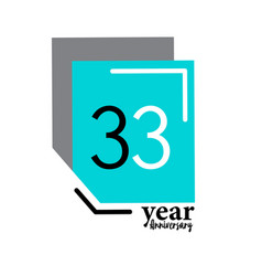 33 year anniversary template design blue box vector