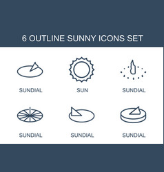 6 sunny icons vector