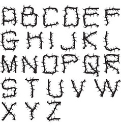 Alphabet thorny vector
