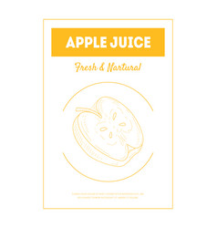 apple juice fresh natural banner template with vector image