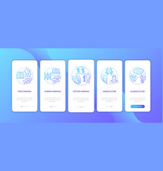 Aquaculture onboarding mobile app page screen vector