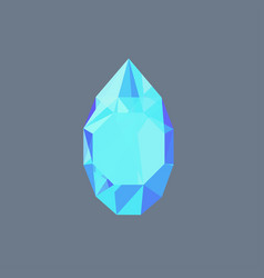 aquamarine gem shining logo drop shaped vector image