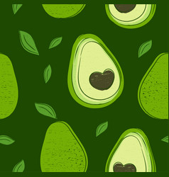 Avocado hand drawing style seamless pattern vector
