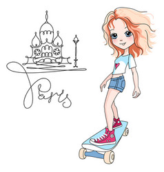 Baby girl skateboarder in paris vector