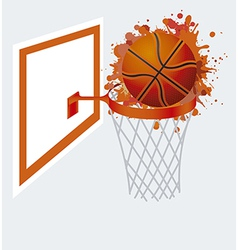basketball ball in basket vector image
