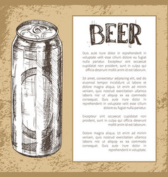 Beer metal can hand drawn poster with text sample vector