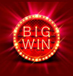 Big win slots banner casino vector