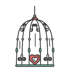 bird cage with hearts vector image