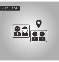 Black and white style icon gay marriage vector