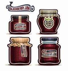 blackberry jam in glass jars vector image