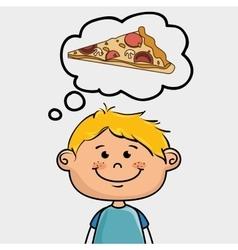 Boy pizza food speak vector