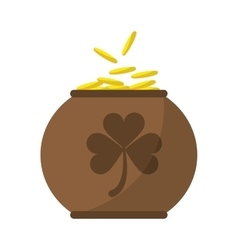 Brown pot full coins shamrock decoration vector