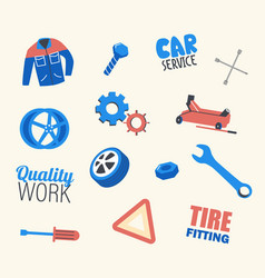 car service set working uniform wrench and vector image