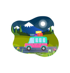 car with luggage on roof ready for summer vacation vector image
