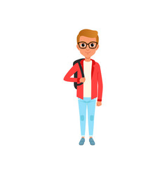 cartoon child character in red jacket white t vector image