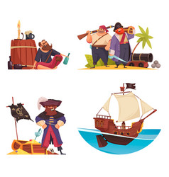 cartoon pirate compositions set vector image