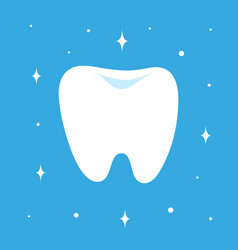 cartoon teeth isolated on blue background vector image