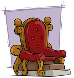 Cartoon wooden red vintage throne royal armchair vector