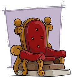 cartoon wooden red vintage throne royal armchair vector image