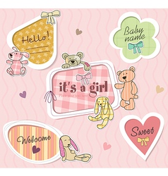 Childrens borders for girl vector