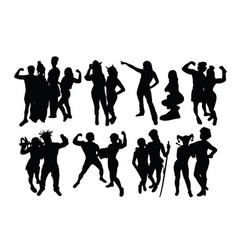 Circus players activity silhouette vector