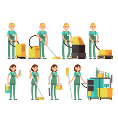 Cleaner characters with cleaning equipment vector
