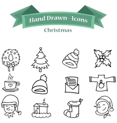 Collection of Christmas icon set hand draw vector