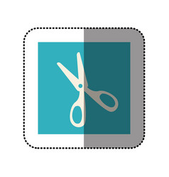 Color sticker square with scissors icon vector