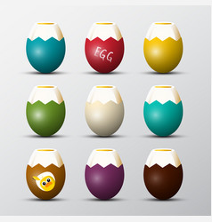 colorful boiled eggs set with chicken vector image