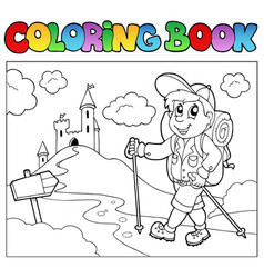 Coloring book with hiker boy vector