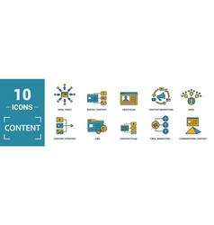 Content icon set include creative elements cms vector