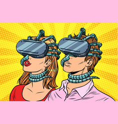 Couple man and woman in virtual reality vector