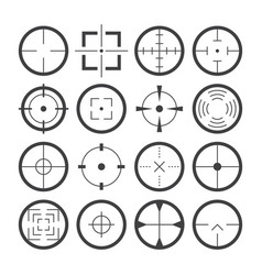 cross hairs target symbols flat icons set vector image