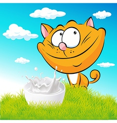 Cute ginger cat sitting on green grass with milk vector