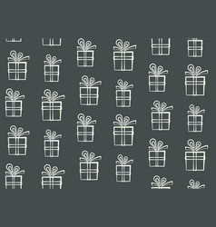 Cute outline white gift boxes pattern vector