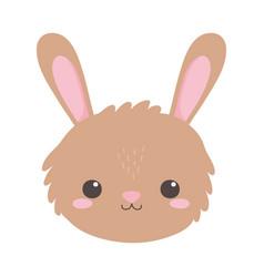 Cute rabbit face animal cartoon isolated white vector