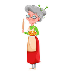 cute smiling old woman happy grandparents day vector image