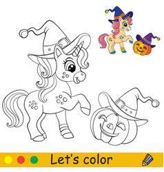 Cute unicorn witch coloring book page halloween vector