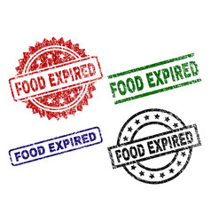 Damaged textured food expired stamp seals vector
