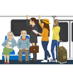 Diverse people inside metro subway train vector image