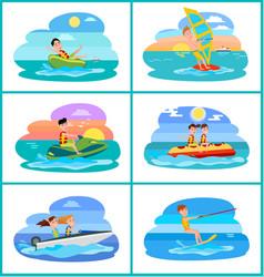 Donut ride set of activities vector