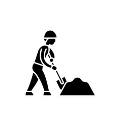 earthworks black icon sign on isolated vector image