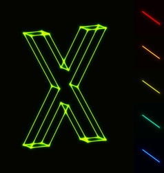 EPS10 glowing wireframe letter X - easy to change vector image