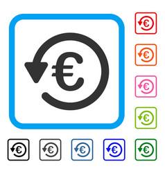Euro rebate framed icon vector