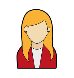 faceless woman with long straight hair icon image vector image