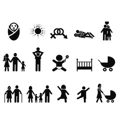 Family life icons set vector