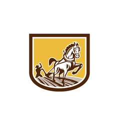 Farmer and Horse Plow Farm Crest Woodcut Retro vector image